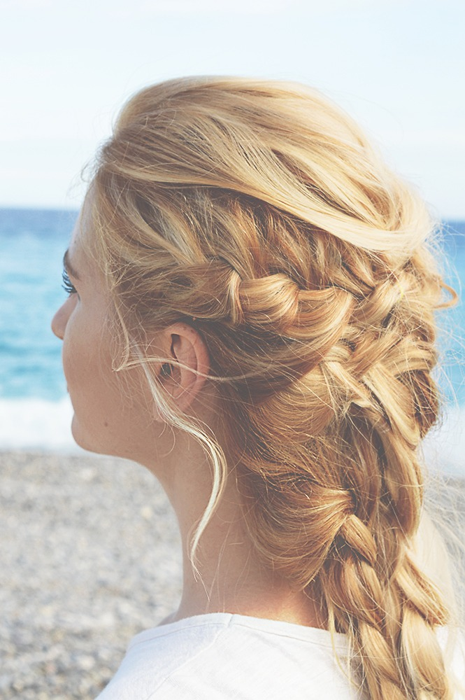 braids blonde beach hair