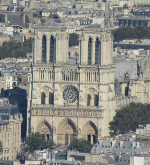 Notre Dame Cathedral seen from top Eiffel Tower - photo by Lysandra Furstenberg