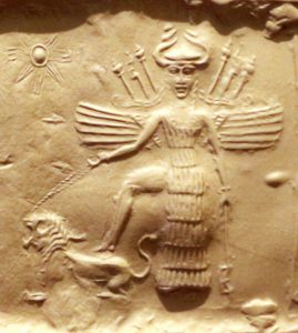 Innana (Ishtar) and one of her seven dogs - source wikipedia