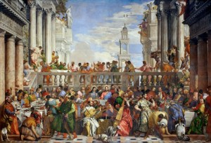 The Wedding Feast at Cana (1563), by the Italian artist Paolo Veronese - and some very happy dogs. Source Wikimedia