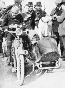 The French war-dog Prusco was employed in carrying messages from a motor-cycle scout to headquarters. This dog and his companions penetrated the enemy lines on many occasions.