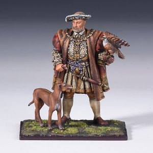 Henry VIII with a dog and a falcon