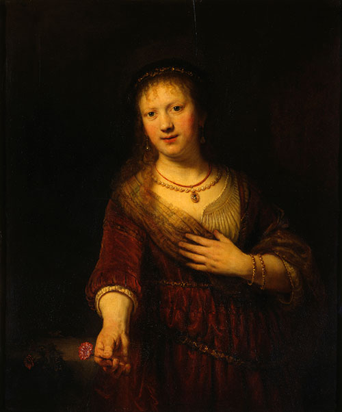 Masterful use of gamboge in art: Rembrandt's portrait of his beloved wife Saskia van Uylenburgh as Goddess Flora, 1634
