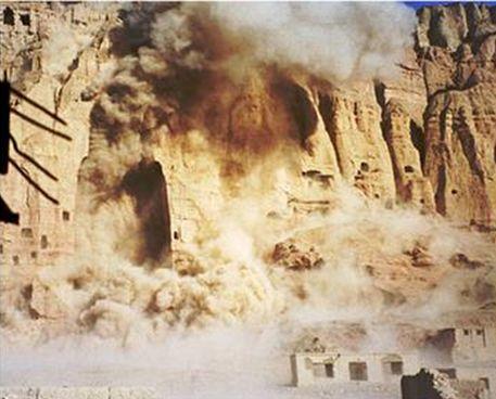 Taliban destroyig the Bamiyan Buddhas. Lurid, Autumn's Gold