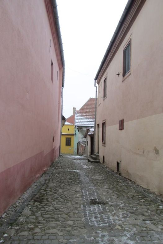 Sighisoara - narrow streets stone paved.