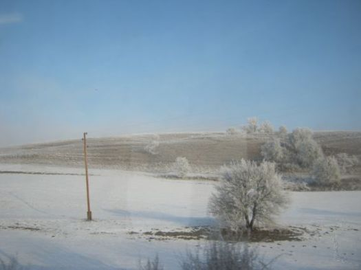 train journey snow Romania