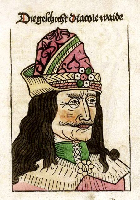 woodcut of Vlad the Impaler on the title page of a German pamphlet  published in Nuremberg in 1488 - wikimedia