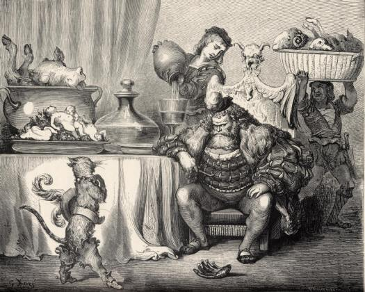 Past and Present Monsters of Folk Tales, Puss meets the ogre in a nineteenth-century illustration by Gustave Doré