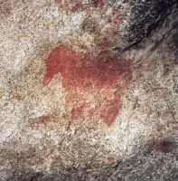 Paleolithic horse painting in a cave at Cuciulat, Transylvania