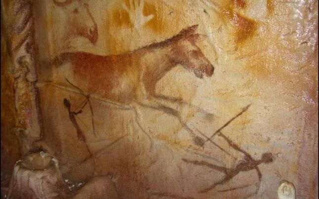 Paleolithic horse, hand, warrior, weapon painting in a cave at Cuciulat, Transylvania