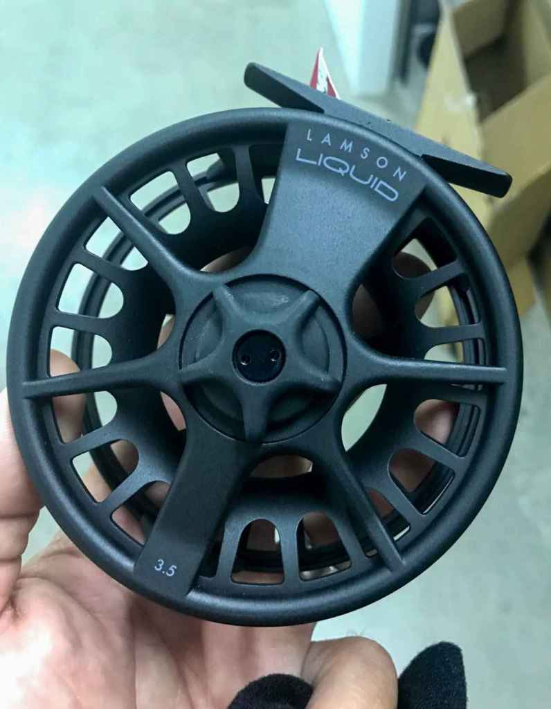 Up close view of the Lamson Liquid fly reel.