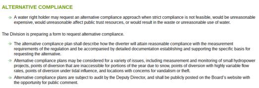 Alternative Compliance Summary, 10-14-2016