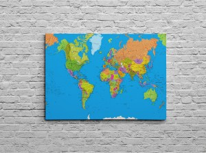 Canvas archives all ways artwork canvas world map colourful detailed physical world map blue gumiabroncs Gallery