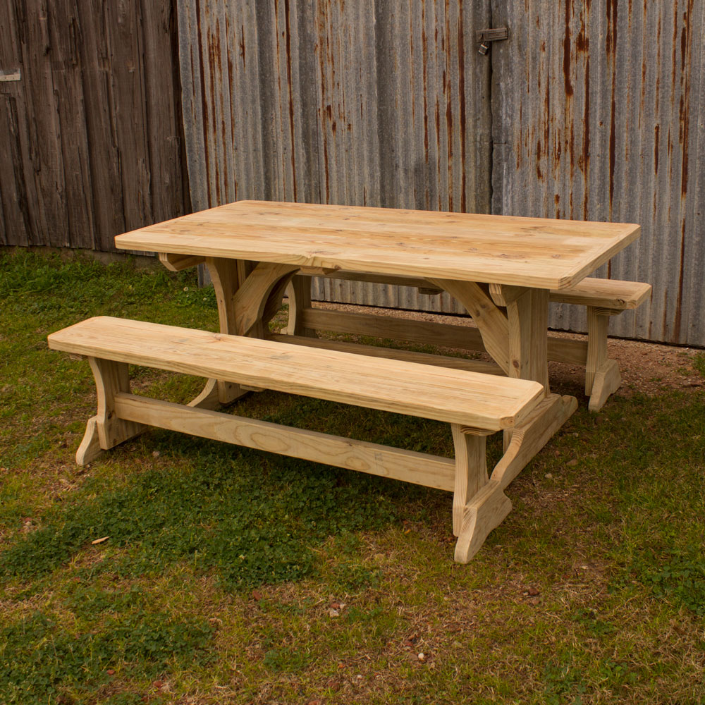 trestle patio table w 2 benches