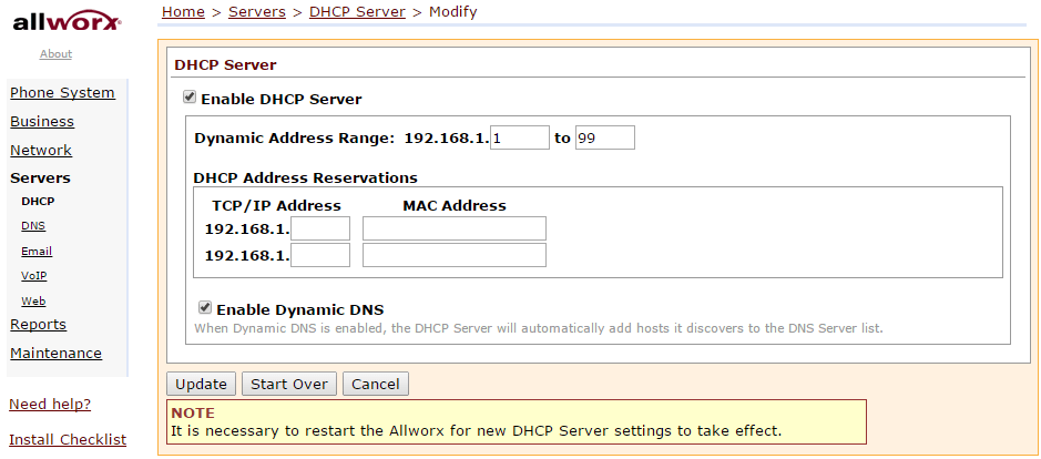 Disable or Change the DHCP Server On Your Allworx System