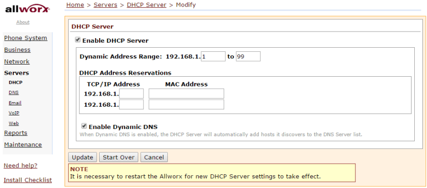 Disable or Change DHCP Server