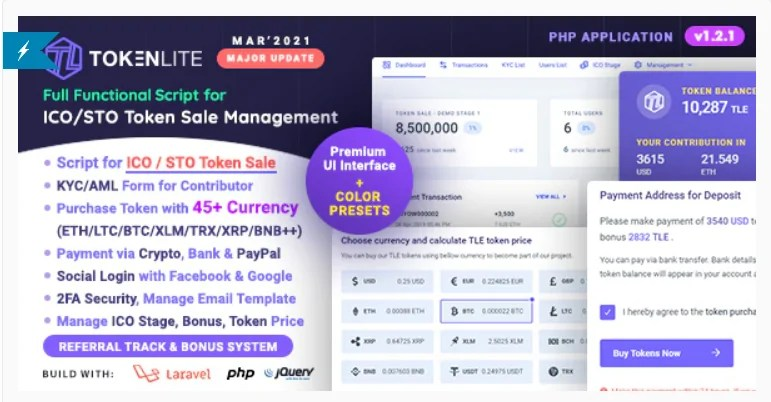 You are currently viewing TokenLite 1.3.0 Nulled – ICO / STO Token Sale Management Dashboard – ICO Admin Script