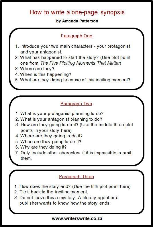 How to Write a One Page Synopsis by Amanda Patterson. Source: http://writerswrite.co.za/