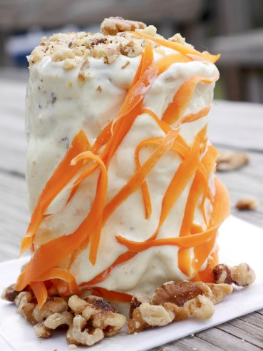 Carrot cake with curry cream cheese frosting