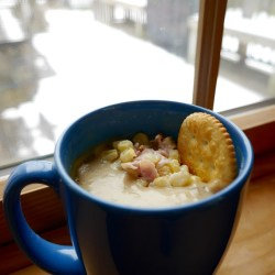 Clam Chowder with Corn in a Mug