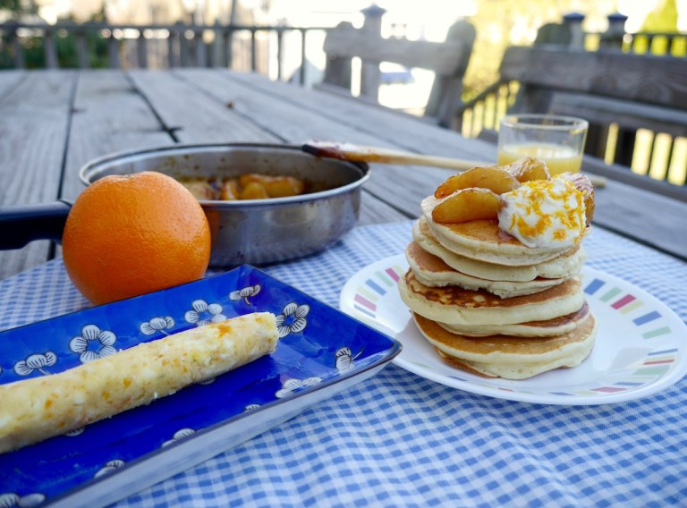 Pancakes with Pears Caramelized in Fig Preserves