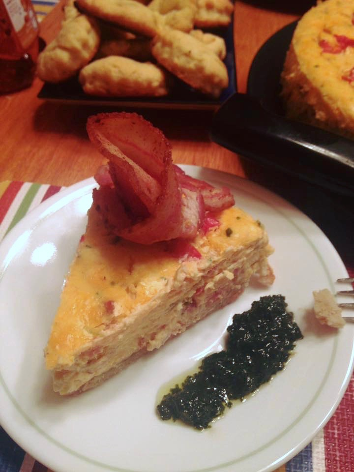 Savory Bacon Cheesecake with Cilantro Pesto