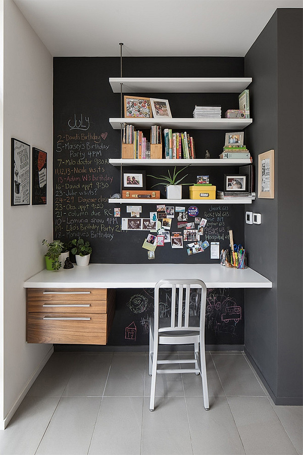 Home Office design featuring a chalkboard paint accent wall, Image via Decoist, John Donkin architect