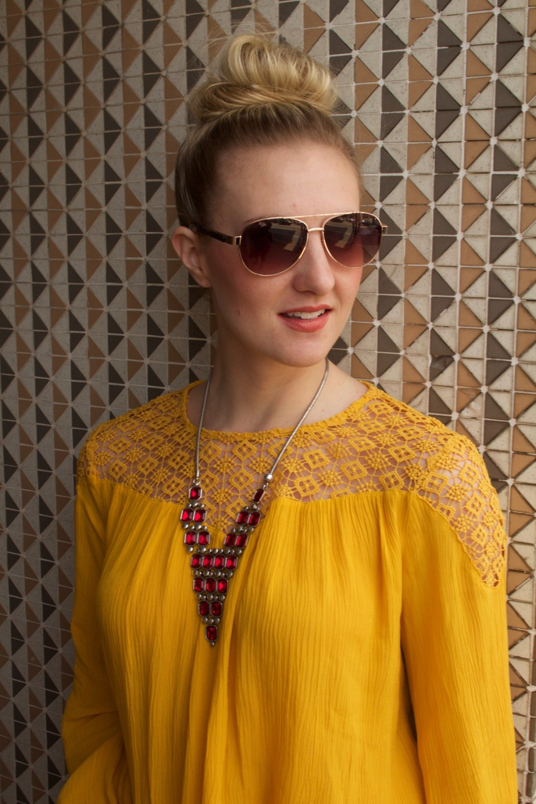 Passion Jewelry Red Pyramid Necklace | styled by Allyn Lewis