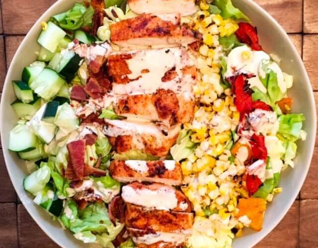 Grilled Chicken and Corn Salad with Honey Mustard Ranch Dressing