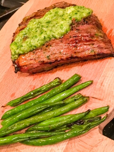 Grilled Chimichurri Skirt Steak and Green Beans