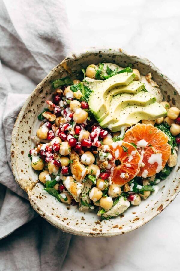 Pinch of Yum's Winter Spa Salad with Lemon Chicken