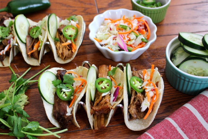 Crockpot Korean Barbecue Tacos with Asian Slaw