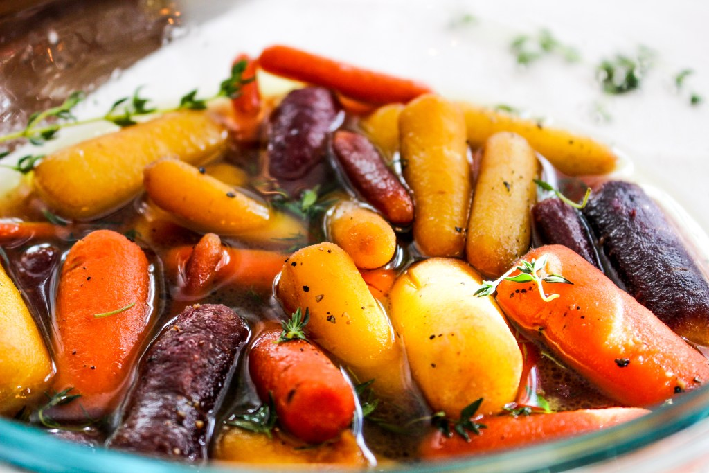 Whisky Glazed Baby Carrots with Thyme