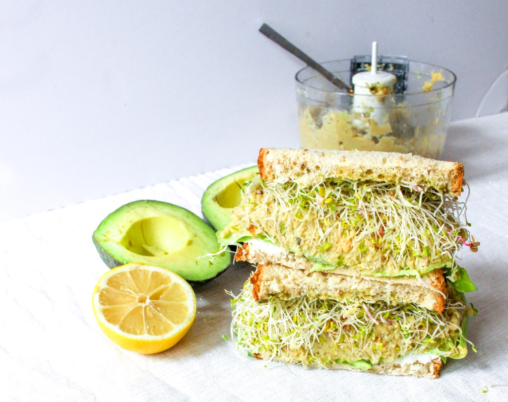 Green Goddess Sandwich with Chickpea Avocado Mash and Goat Cheese