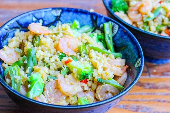 "shrimp and cauliflower ""fried rice"""