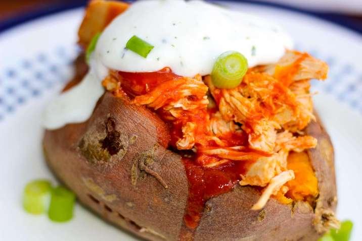 Buffalo Chicken Stuffed Sweet Potato with Greek Yogurt Ranch Dressing