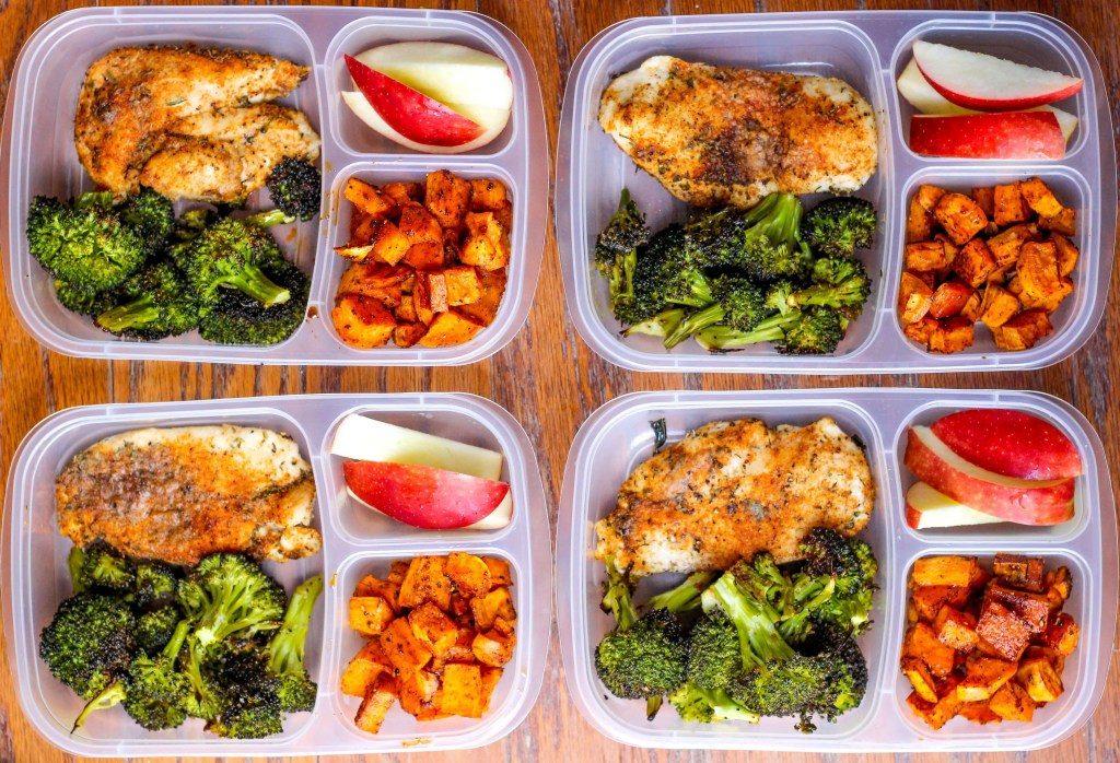 Meal Prep Lunch Bowls with Spicy Chicken, Roasted Lemon Broccoli, and Caramelized Sweet Potatoes