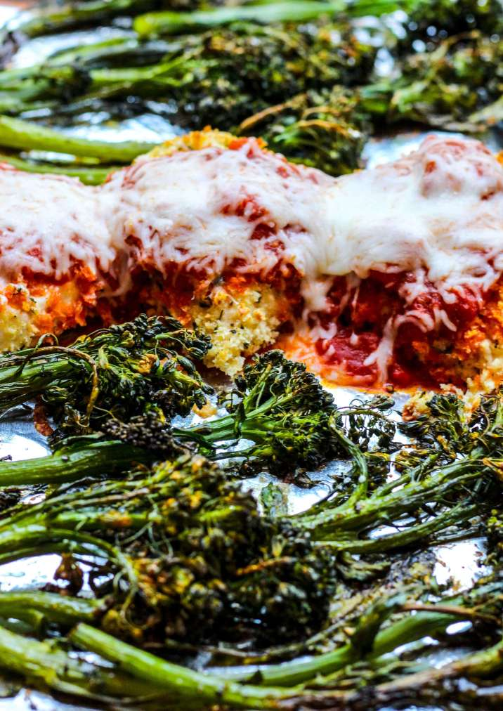 Sheet Pan Chicken Parmesan with Crispy Broccolini