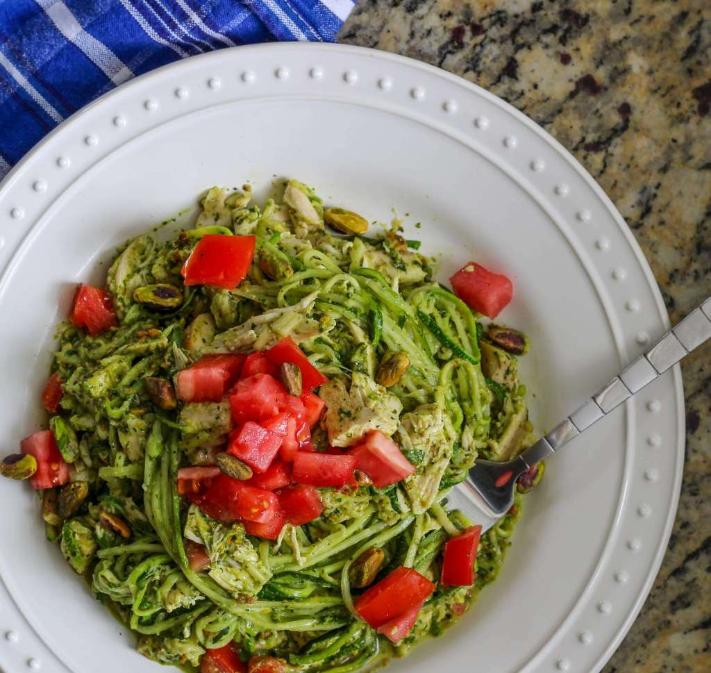 Whole30 Pesto Chicken Zoodles and Pistachios