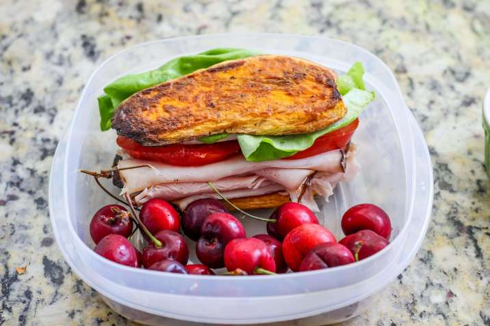 Paleo Buffalo Chicken Sandwich on Sweet Potato Buns
