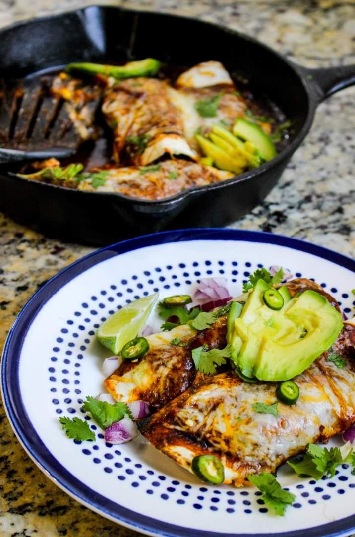 One Skillet Chicken Enchiladas for Two