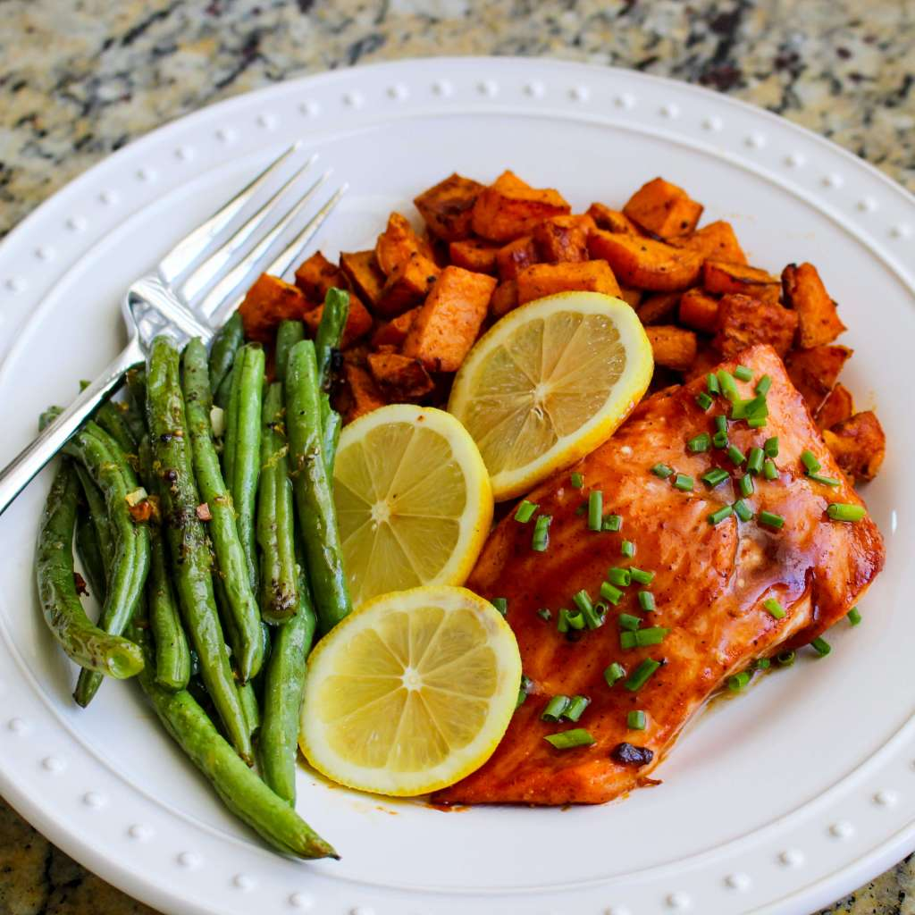 Sheet Pan BBQ Salmon with Chipotle Sweet Potatoes and Green Beans