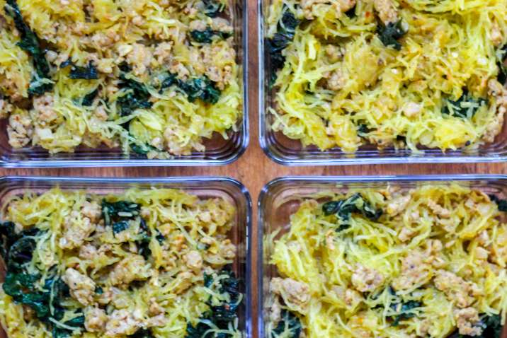 Meal Prep Spaghetti Squash Bowls with Spicy Sausage and Kale