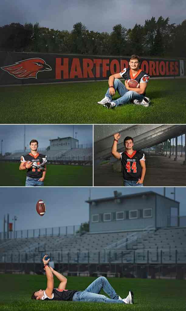 Hartford Union High School Senior Pictures at Gib Mahr Field in Hartford, Wisconsin