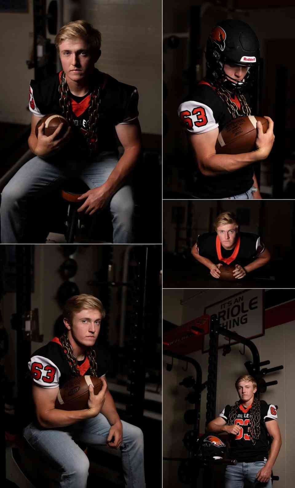 Athletic Senior Pictures in at Weight Room in Hartford WI