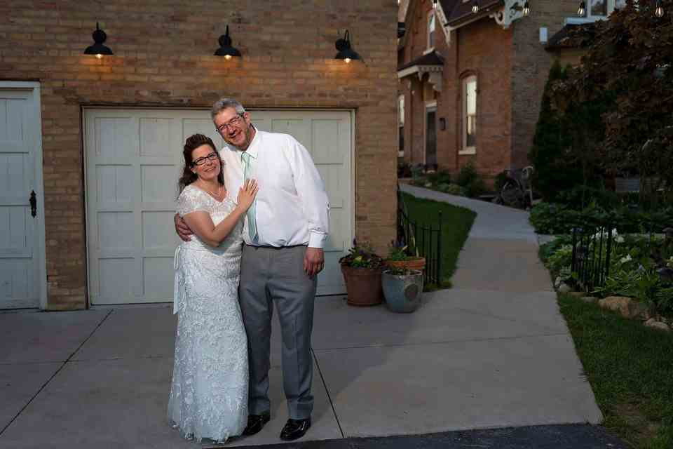 Husband & Wife at Spring Wedding at The Gardens in Allenton, WI