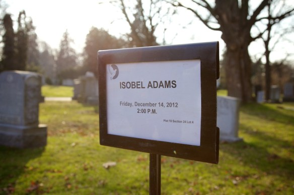 Sign at gravesite in Mt. Pleasant Cemetery.  (c) Allyson Scott