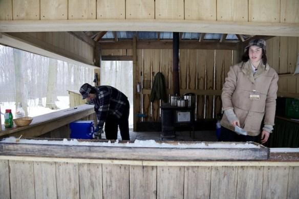 Guys manning the taffy trough