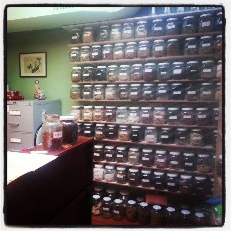 Jars of Chinese herbs