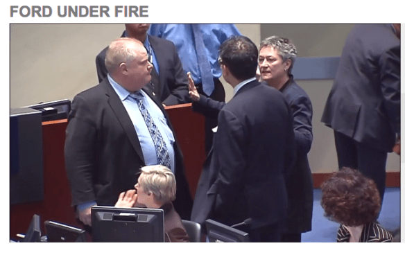 Rob Ford and Denzil Minnan-Wong being separated in council